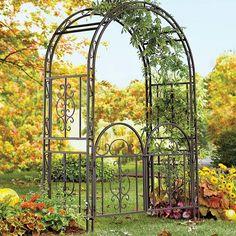 Garden Arbor Gate Dark Bronze Iron Arch Archway Patio Lawn Wedding Trellis H