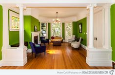 Vickburg Eclectic Living Room. How does this too have such bright green walls yet get away with it?