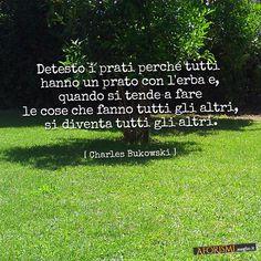 Detesto i prati perché tutti hanno un prato con l'erba e, quando si tende a fare le cose che fanno tutti gli altri, si diventa tutti gli altri.  (Charles Bukowski)