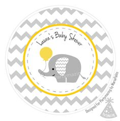 New from Partymazing on Etsy: Printable Elephant Stickers PERSONALIZED Tags Stickers Gift Tags Cupcake Toppers Yellow Elephant Baby Shower Collection D119 (7.00 USD) For more @partymazing