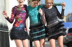 Dance like nobody's watching- the new embroidered sequin feather dresses by Matthew Williamson for SS15.