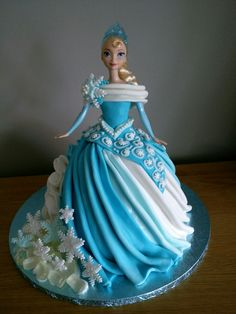 Great Image of Birthday Cake Doll Princess - birthday Cake White Ideen Barbie Doll Birthday Cake, Barbie Torte, Barbie Birthday Cake, Frozen Birthday Cake, Birthday Cake Girls, Princess Birthday Cakes, Frozen Doll Cake, Elsa Doll Cake, Princess Doll Cakes