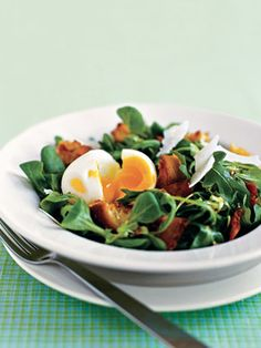 Green Salad with Bacon, Egg, and Parmesan