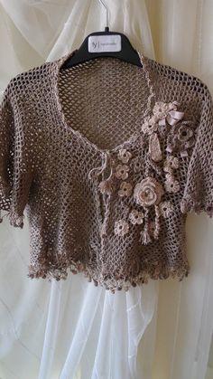 Crocheted Flowered Bolero, mini jacket, light coffee brown and very light peach puff Crochet Jacket, Crochet Cardigan, Knit Or Crochet, Crochet Scarves, Irish Crochet, Crochet Shawl, Crochet Clothes, Crochet Shrugs, Crochet Sweaters