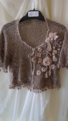 Crocheted Flowered Bolero mini jacket light coffee by fyboutique, $34.95