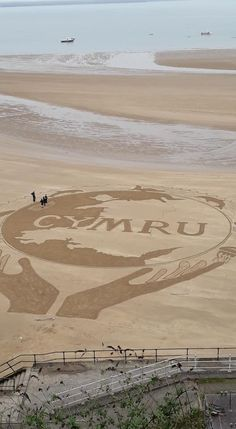 the fantastic sand art at Tenby beach Gower Peninsula, Celtic Culture, Celtic Thunder, England, Cymru, Sand Art, Swansea, South Wales, Welsh