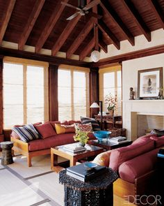 Cindy Crawford's OTHER living room in her work out house. Yes, you read that right. She has a whole house just for exercizing.