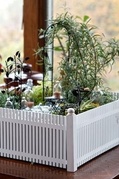 Indoor fairy garden. I love all the props, especially the cloches and the trellis. And the fence around the container.