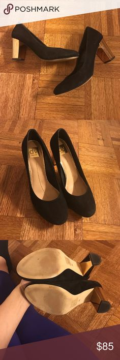 Like NEW Dolce Vita Round Toe Heels Like NEW Dolce Vita Round Toe Heels. Sold out everywhere. Worn once indoors. Black suede with gold heels. 4 inch chunky heel DV by Dolce Vita Shoes Heels