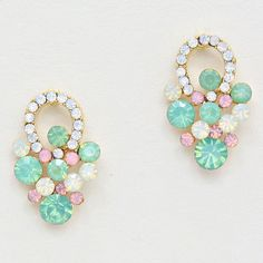 Crystal Sabine Earrings in Mint Bouquet on Emma Stine Limited #pastel #prom