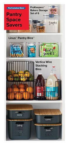 Organize your pantry with pantry organizers from The Container Store! Our pantry organizers come in many designs and sizes to fit any kitchen pantry space. Kitchen Organization Pantry, Pantry Storage, College Organization, Kitchen Pantry, Organization Hacks, Kitchen Storage, Pantry Ideas, Bathroom Organization, Kitchen Ideas