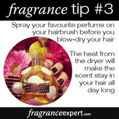 Fragrance Tip - Spray your favourite perfume on your hairbrush before you blo. - Fragrance Tip – Spray your favourite perfume on your hairbrush before you blow-dry your hair. Perfume Diesel, Mens Perfume, Fm Cosmetics, Cosmetics & Perfume, Perfume Quotes, Perfume Fahrenheit, Perfume Invictus, Perfume Scents, Fragrance