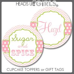 Personalized Sugar & Spice Pink and Lime Green Cupcake Toppers or Gift Tags by HeadsUpGirls, $8.00
