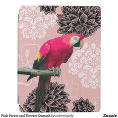 Pink Parrot and Flowers Damask iPad Smart Cover - pink, parrot, flowers, damask, parrots, bird, birds, flower, floral, flora, botanical, hibiscus, abstract, girly