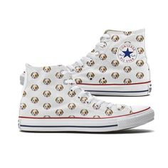 Converse Dog Emoji High Top Chucks are finally here! Dog lovers can now where their love of dogs on their feet. Each shoe is covered with a classic dog emoji pattern. Each pair is custom-made so color