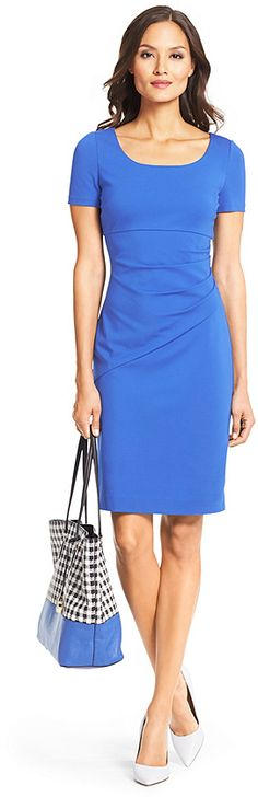 DVF Bevina Ceramic Sheath Dress #work #workwear #bluedress