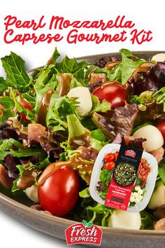 Our chef-inspired Pearl Mozzarella Caprese salad features a tender spring mix blend and includes authentic ingredients like pearl mozzarella cheese and perfectly salted diced prosciutto. Paired with juicy grape tomatoes and finished off with a delightful balsamic vinaigrette, this easy to make meal will satisfy the most sophisticated of tastes!   #gourmet #saladkit #saladbowl #easymeal #easylunch #easydinner #healthy #salad Mozzarella Caprese, Caprese Salad, Salad Kits, Spring Mix, Salad Bowls, Prosciutto, Vinaigrette, Tomatoes, Easy Meals