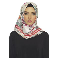 Hijabstore - Angel Lelga Original Scarf 233 - Putih Abstak Motif