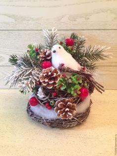 Купить Зимняя птичка.Новогодние истории в чашке.Новогодняя композиция - коричневый, новогодний подарок 2016