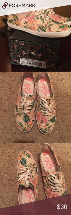 Rifle paper Co. Keds Oh la la!!! These shoes speaks for themselves. They are in excellent condition and worn twice. As far as size they fit big so if you wear a size 8 in women and narrow feet these will fit perfect. I had to size down with this particular brand. My price is firm thanks. ❌ TRADES ❌ OFFERS Keds Shoes Sneakers