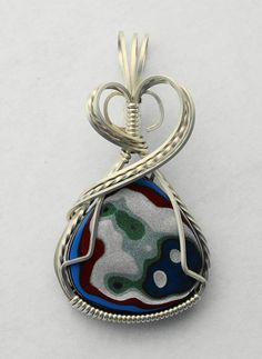 Original Detroit Fordite Wire Wrapped Pendant in Argentium Sterling Silver Wire Pendant, Wire Wrapped Pendant, Silver Pendant Necklace, Wire Wrapped Jewelry, Pendant Jewelry, Beaded Jewelry, Handmade Jewelry, Wire Jewellery, Macrame Necklace