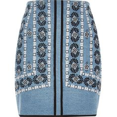 River Island Blue embroidered denim mini skirt ($70) ❤ liked on Polyvore featuring skirts, mini skirts, short mini skirts, tall denim skirt, blue skirt, blue mini skirt and short blue skirt