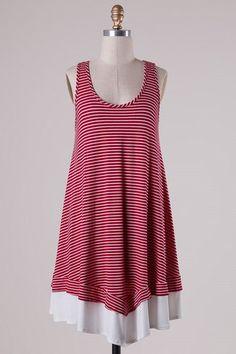 Tegan Dress - Red Stripe