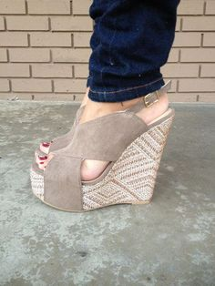pets4ever21's save of Mocha Suede-Like Wedges on Wanelo