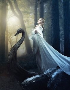 ♥ Romance of the Maiden ♥ couture gowns worthy of a fairytale - swan princess Fairy Land, Fairy Tales, Fantasy World, Fantasy Art, Elfa, Fairytale Fashion, Swan Lake, Photo Manipulation, Belle Photo