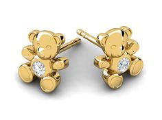 Cuddle Bear Gold Children and Baby Diamond Earrings – Fiola Jewelry Cuddle, Diamond Earrings, Cufflinks, Bear, Children, Gold, Accessories, Jewelry, Kids