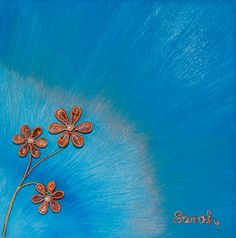 Wire Art on canvas from ButterflyOnBlue: Copper wire flowers on a blue painted canvas by Sarah Jansma Wire Flowers, Canvas Art, Painted Canvas, Wire Art, Copper Wire, Auction, 6 Inches, Projects, Blue