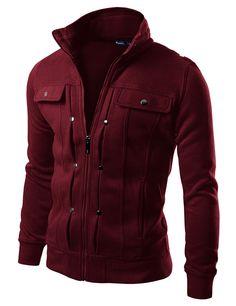 Mens High Neck Cotton Zipup Jacket #doublju