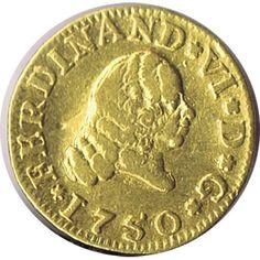 Moneda de oro 1/2 escudo Fernando VI 1750 Sevilla.