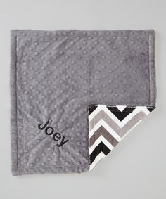 The Minky Boutique Black Zigzag & Silver Personalized Minky Security Blanket