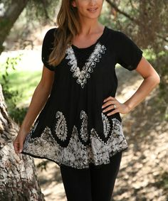 Another great find on #zulily! Black & Silver Lace-Up Tunic - Women by Ananda's Collection #zulilyfinds