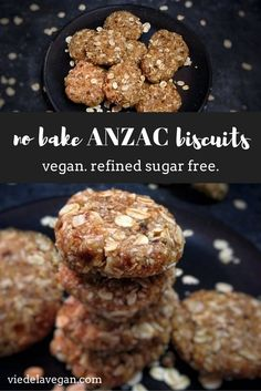These raw ANZAC biscuits are actually not fully raw; But these no bake ANZAC biscuits are still delicious & healthy! Healthy Cookie Recipes, Healthy Cookies, Raw Food Recipes, Healthy Dinner Recipes, Vegan Sweets, Vegan Snacks, Vegan Food, Vegan Raw, Gluten Free Recipes Australia