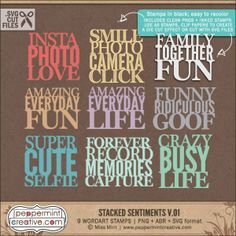 Stacked Sentiments v.01 - .PNG & .ABR Stamps plus .SVG Cut Files for #silhouette #diecut