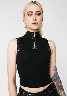 Punk Rave High Neck Black Grommet Tank will hold ya tight. This black tank has a cropped length, a high neckline with embellishments, and a back zipper closure.