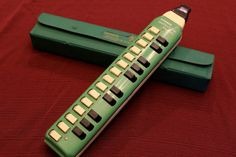 Vintage Green Hohner Melodica Soprano with Case by AtticEsoterica