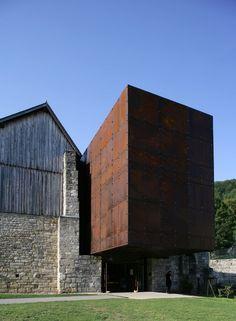 corten stone - musée du sel , Salins-les-Bains, France, malcotti roussey architectes + thierry gheza