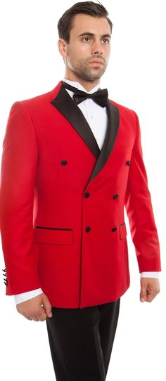 Mens Fashion Double Breasted Slim Fit Red/Black Tuxedo Tazio MT253S-03 Double Breasted Tuxedo, Double Breasted Jacket, Formal Attire For Men, Red Tuxedo, Slim Fit Tuxedo, Big & Tall, Slim Man, Black Button, Mens Suits