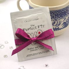 """This delicious Personalized Tea Bag Favors is a """"Tea-rific"""" way to say thank you for sharing in our special day. Tea is becoming the """"in"""" drink of this decade."""