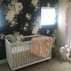"424 Likes, 7 Comments - Room & Board (@roomandboard) on Instagram: ""Wallpaper goals. We're in 😍with @iheartgunner's moody nursery! Shop the Flynn crib, link in bio.…"""