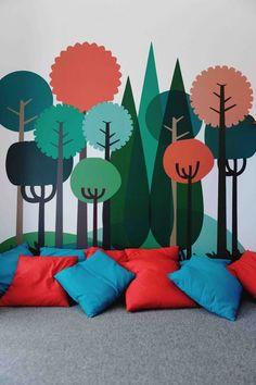 Geometric, colorful tree wall mural for a kids bedroom or playroom School Murals, Church Nursery, Kids Church Rooms, Kids Church Lessons, Kid Spaces, Kids Decor, Boy Room, Room Kids, Classroom Decor