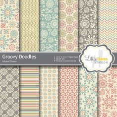 Retro Floral Digital Scrapbook Paper Digtial Paper Pack Muted Colors Commercial Use INSTANT DOWNLOAD 8.5x11 and 12x12 LittleLlamaShoppe 3.00 USD