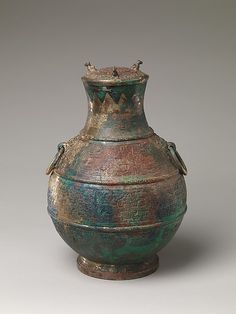 """Ritual wine container (Hu), early 5th century B.C.Eastern Zhou dynasty, Spring and Autumn period (770–476 B.C.). China.The Metropolitan Museum of Art, New York. Rogers Fund, 1999 (1999.46a, b)  This work is featured in our """"Innovation and Spectacle: Chinese Ritual Bronzes"""" exhibition, on view through March 22, 2015 #AsianArt100"""