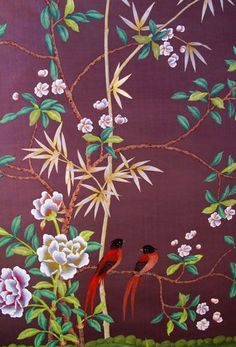 G & W Collections: Chinoiserie Papers - Kashgari Ichizaemon Chinoiserie Wallpaper, Chinoiserie Chic, Fabric Wallpaper, Painted Wallpaper, Textures Patterns, Print Patterns, Illustration Art, Illustrations, Western Art