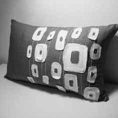 simple grey and white linen pillow