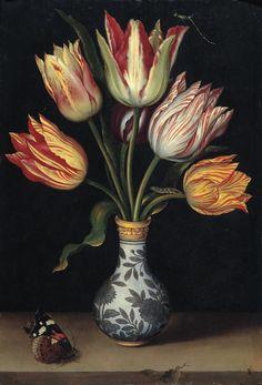 "Ambrosius Bosschaert, the Elder ""Tulips in a Wan-Li Vase"", 1619 (The Netherlands, Baroque / Dutch Golden Age, cent. Art Floral, Motif Floral, Dutch Still Life, Still Life Art, Still Life Flowers, Dutch Golden Age, Dutch Painters, Botanical Prints, Flower Art"