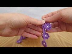 Orecchini pendenti lilla realizzati a uncinetto con spighetta o fettuccia romena. - YouTube